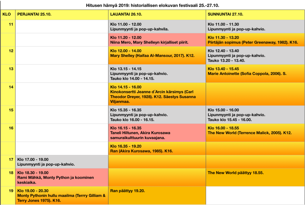 Hitusen hämyä -ohjelma- ja aikataulukartta